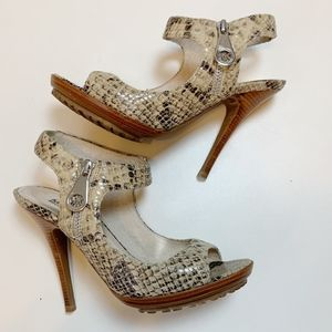 MICHAEL Michael Kors Snakeskin Peep Toe Sandals